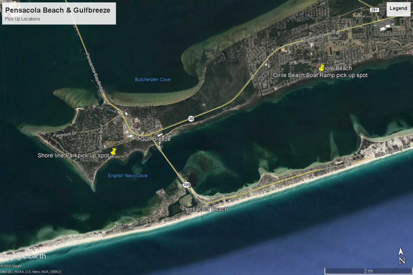 pensacola beach & Gulfbreeze pick up Locations